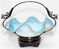 VICTORIAN GLASS & SILVERPLATE BRIDE'S BASKET