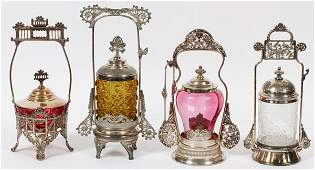 VICTORIAN GLASS & SILVER PLATE PICKLE JARS