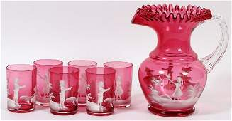 MARY GREGORY CRANBERRY GLASS PITCHER & TUMBLERS
