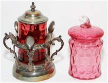 VICTORIAN CRANBERRY GLASS JARS LATE 19TH C. TWO