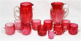CRANBERRY GLASS PITCHERS  MUGS LATE 19TH C 12 PCS