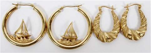 14 KT YELLOW GOLD EARRINGS TWO PAIR