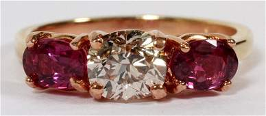 0.90CT FANCY COLOR DIAMOND & RUBY LADY'S RING