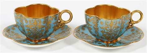 COALPORT FIRED GOLD PORCELAIN DEMITASSE CUPS & SAUCERS,