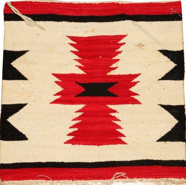 NAVAJO GRAY RED & BLACK WOOL MAT