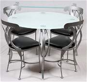 CONTEMPORARY GLASS & SILVERED METAL DINING SET 6 PC