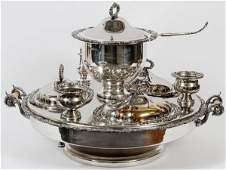 SILVERPLATE CHAFING LAZY SUSAN EARLY 20 TH C 13 PC
