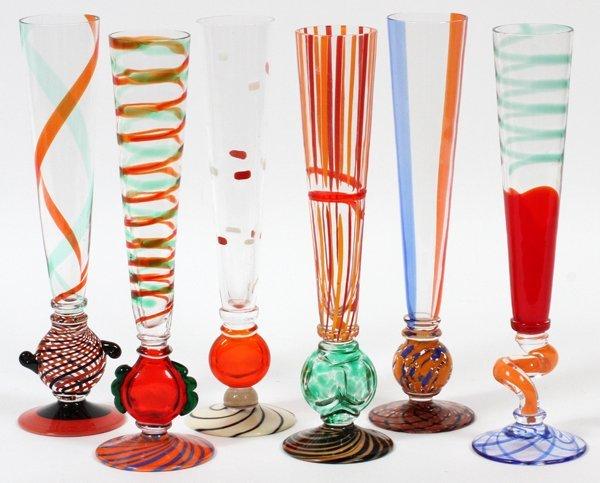 CARLO MORETTI, ITALIAN COLORED CHAMPAGNE GLASSES,6