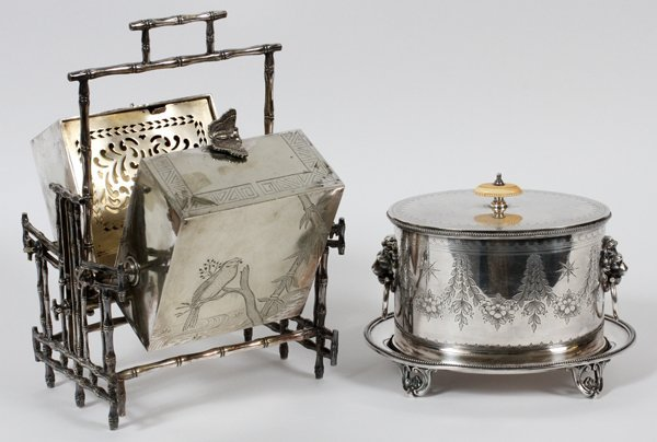 VICTORIAN ELECTROPLATE SILVER BISCUIT WARMER & BOX