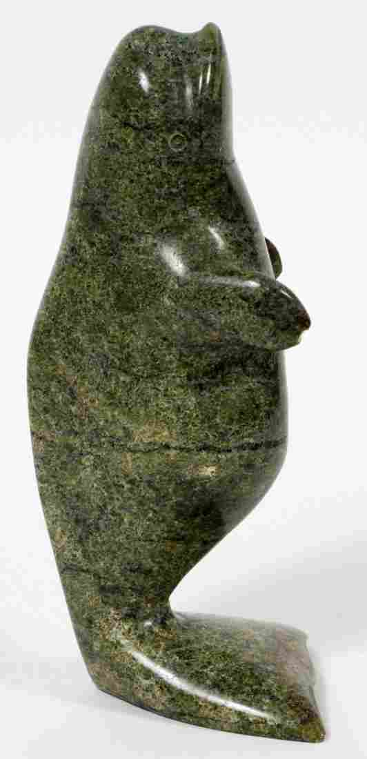 INUIT CARVED STONE WHALE SIGNED