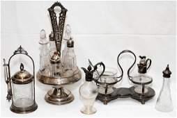 VICTORIAN SILVERPLATE  GLASS TABLEWARE 5 PCS