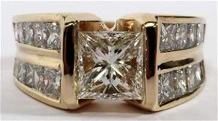 1.57 CT. PRINCESS CUT DIAMOND & GOLD RING SIZE 7