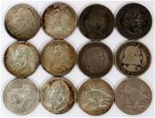 COMMEMORATIVE SILVER 1/2 DOL COINS 1892-1935 12 PCS