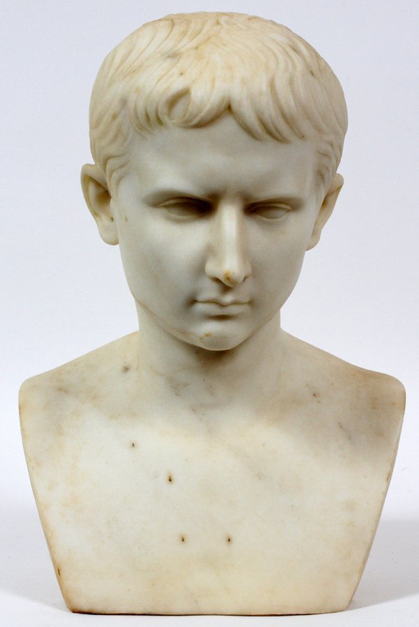 ITALIAN MARBLE BUST OF YOUNG CAESAR AUGUSTUS