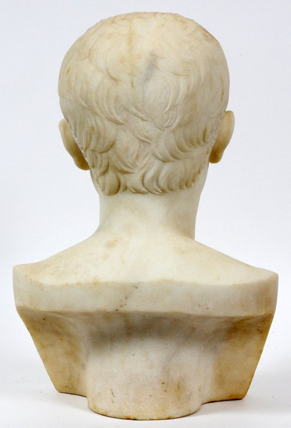 ITALIAN MARBLE BUST OF YOUNG CAESAR AUGUSTUS - 2