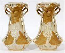ROYAL DUX BISQUE VASES C 1910 PAIR