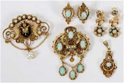VICTORIAN STYLE GOLD OPAL & SEED PEARL JEWELRY