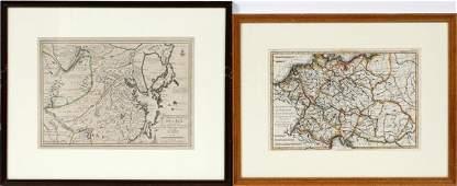 FRENCH MAPS AFTER NICOLAS DE FER  M BONNE TWO