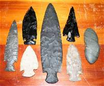 NATIVE AMERICAN CARVED STONE SPEAR AND AXE HEADS