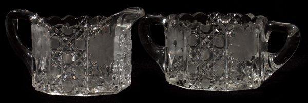 AMERICAN BRILLIANT CUT GLASS CREAMER & SUGAR SET