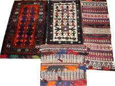 PERSIAN HAND WOVEN WOOL BAGS FOUR