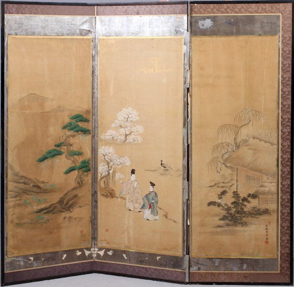 JAPANESE THREE PANEL SCREEN 19TH.C.  AS IS