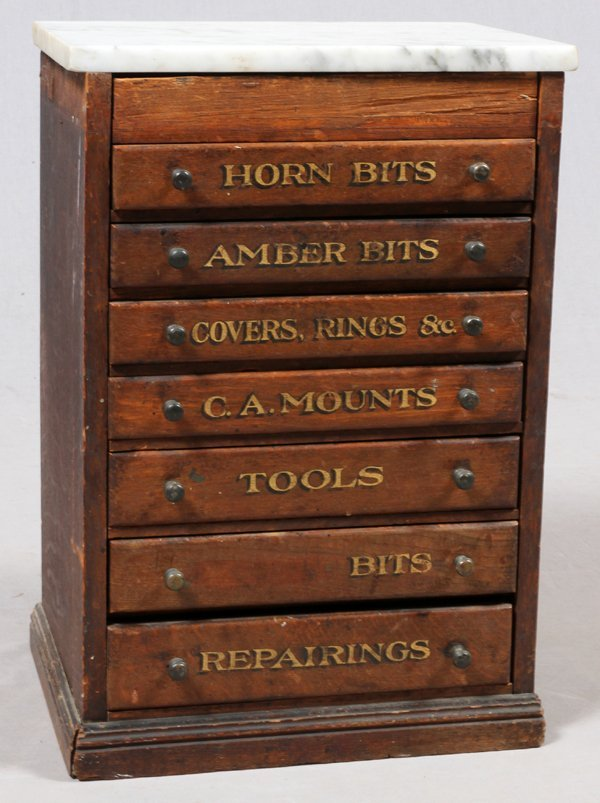 SIX DRAWER ANTIQUE TOOL CHEST W/ MARBLE TOP