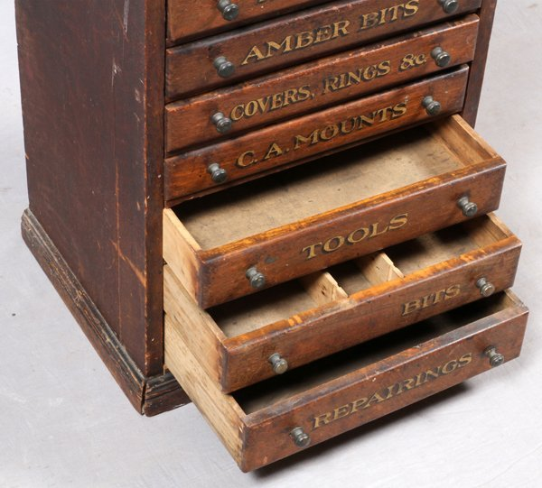 SIX DRAWER ANTIQUE TOOL CHEST W/ MARBLE TOP - 2