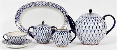 LOMONOSOV RUSSIAN 'COBALT NET' PORCELAIN TEA SET