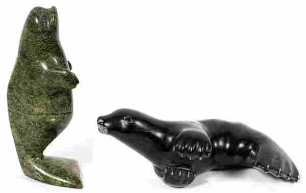 INUIT CARVED STONE WHALE & SEAL