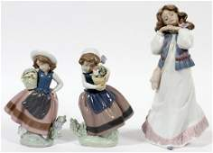 LLADRO PORCELAIN FIGURES OF GIRLS THREE