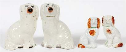 STAFFORDSHIRE POTTERY DOGS TWO PAIR