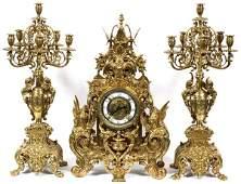 FRENCH STYLE GILT BRONZE CLOCK GARNITURE SET OF 3