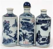 CHINESE PORCELAIN SNUFF BOTTLES C. 1860 THREE