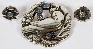 GEORG JENSEN STERLING  MOONSTONE DOVE BROOCH