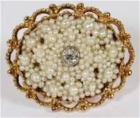 14KT YELLOW GOLD SEED PEARL  DIAMOND BROOCH