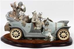 LLADRO PORCELAIN FIGURE GROUP 'ANTIQUE CAR'