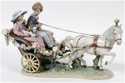 LLADRO PORCELAIN FIGURE GROUP 'A RIDE IN THE PARK'