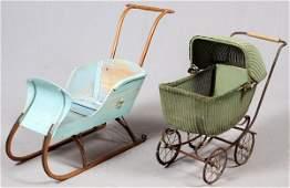 CHILDS SLEIGH  WICKER BUGGY C 1900