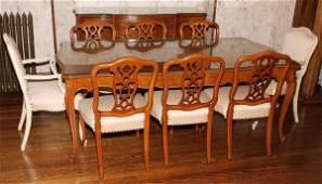 FRENCH STYLE WALNUT DINING SET AFTER 1950 11 PIECES