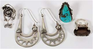SILVER JEWELRY TURQUOISE RING ETC 4 PCS