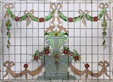 AMERICAN STAINED & LEADED GLASS WINDOW C. 1900