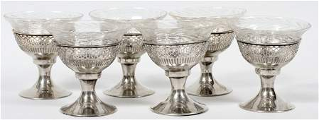 WEBSTER CO STERLING SHERBETS W GLASS LINERS SIX