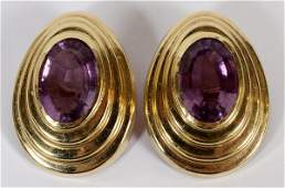 14KT YELLOW GOLD  AMETHYST EARCLIPS PAIR