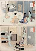 TOSHIKATA WOODBLOCK PRINTS BEAUTIES PAIR