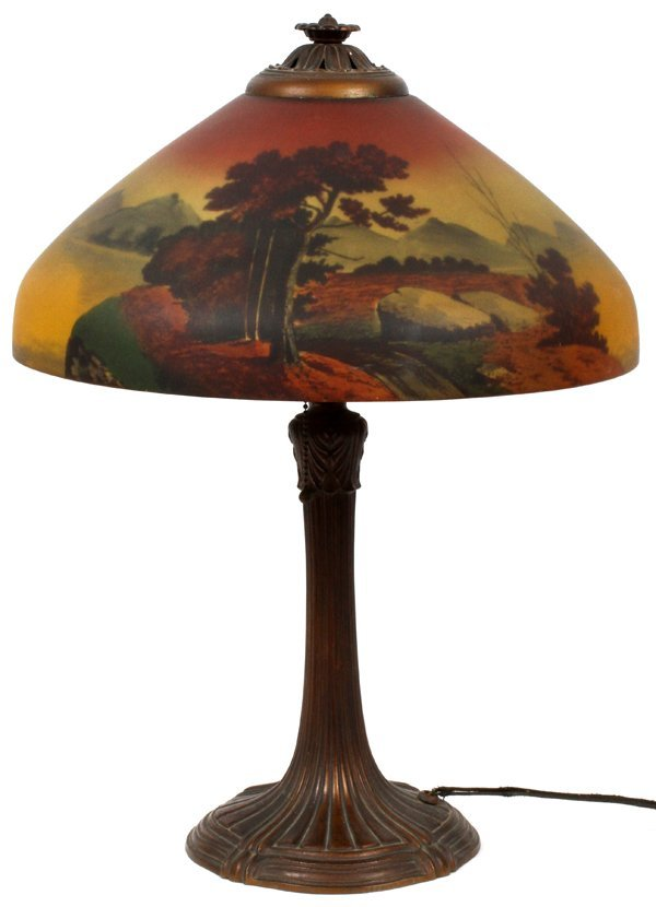 REVERSE PAINTED GLASS TABLE LAMP C. 1910