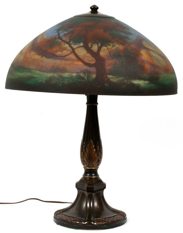 JEFFERSON REVERSE PAINTED GLASS TABLE LAMP C. 1910