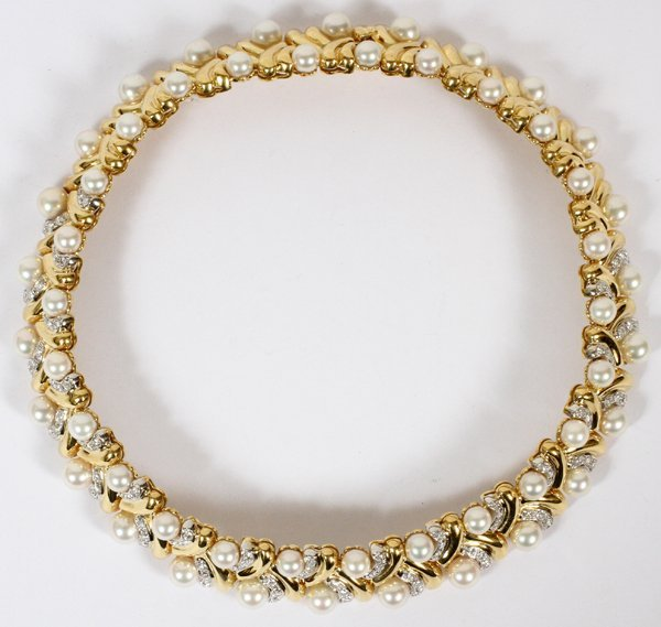 NATURAL AKOYA PEARLS & 3CT DIAMONDS NECKLACE