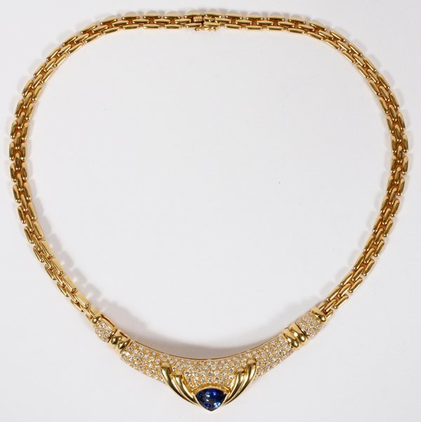 YELLOW GOLD, BLUE SAPPHIRE & DIAMONDS NECKLACE