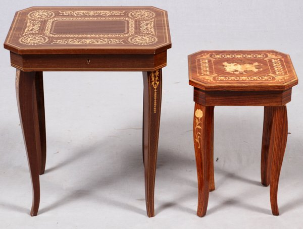 ITALIAN INLAID MUSIC BOX TABLES TWO & 18